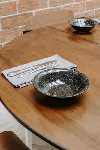 Set of 4 Speckled Shallow Bowls