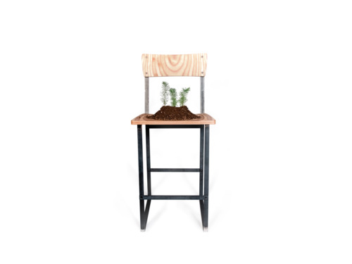 Enright Counter Stool (Plywood & Raw Steel)