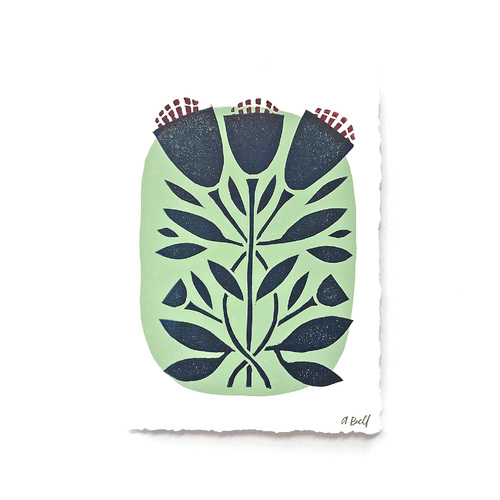 Hand Block Printed Art Print |  Mod Flower in Mint Green