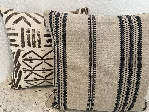 Pair of Graphic Velvet and Jute Striped Pillows