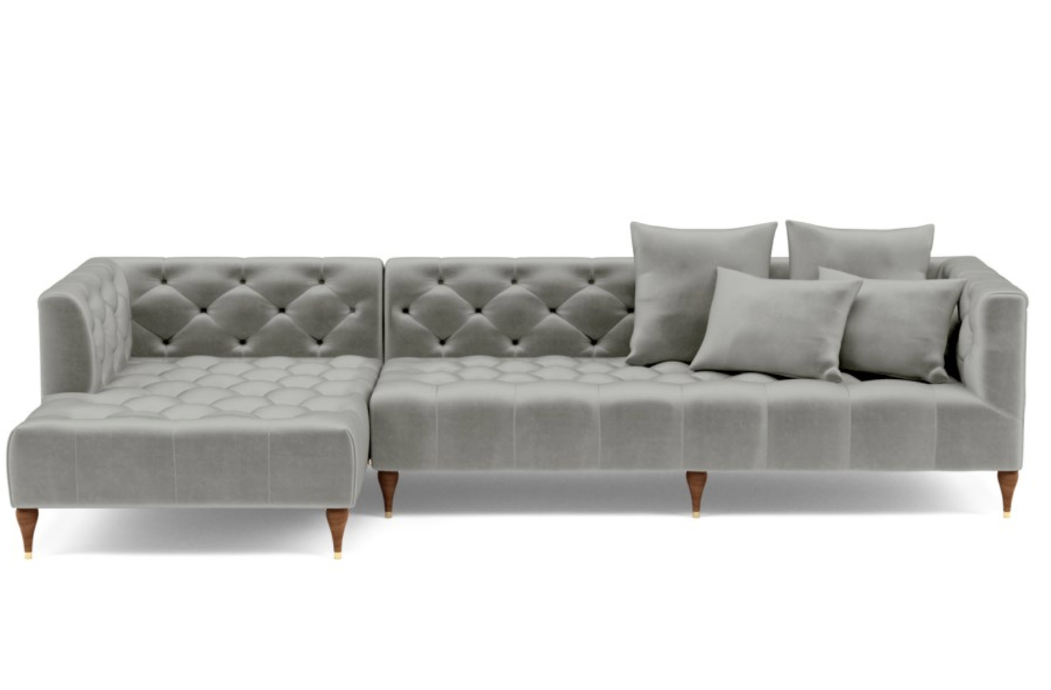 Ms. Chesterfield Left Chaise Sofa (Greige)