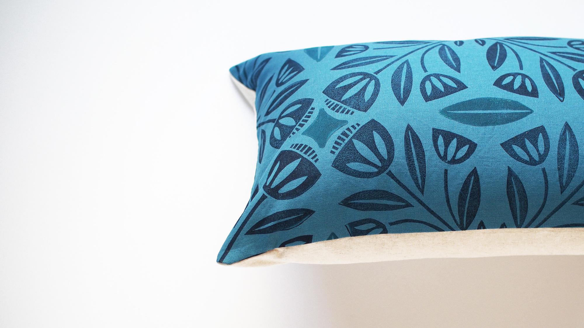 Handmade Block Printed Pillow -  Scandinavian Dream in Teal