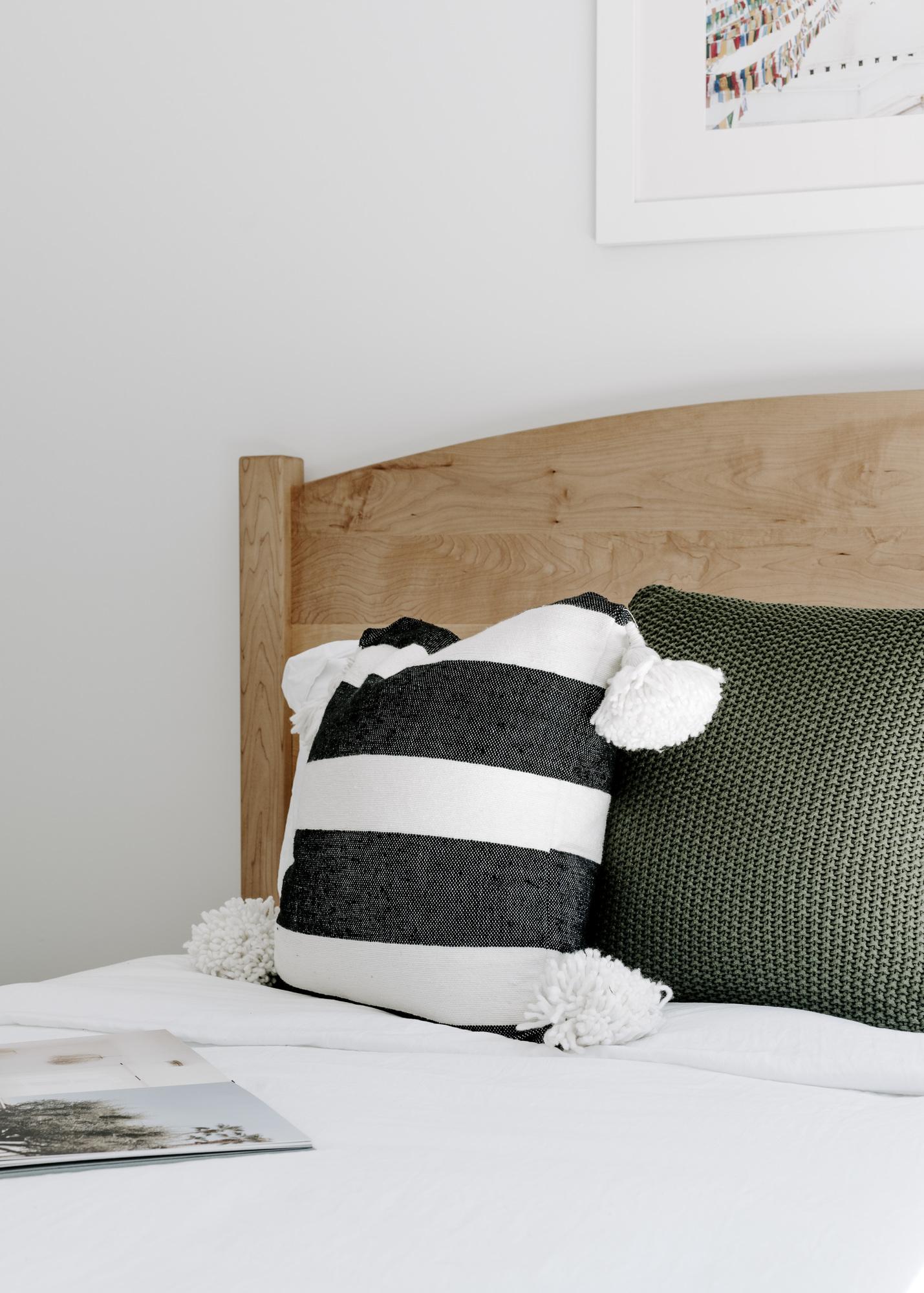 Moroccan Pom-Pom Pillow Cover - Black