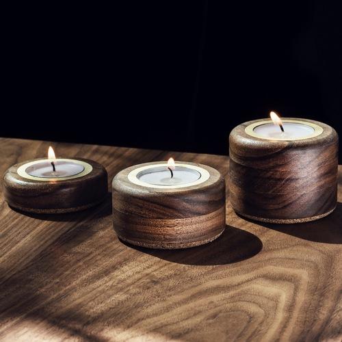 Candle Holder Set - Walnut