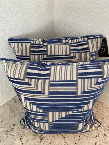 Blue Graphic Velvet Cut Stripe