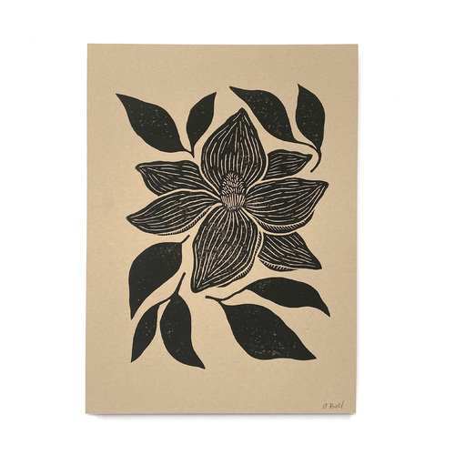 Hand Block Printed Art Print | Magnolia on Kraft