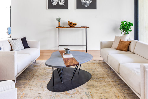 Concrete + Walnut Coffee Table