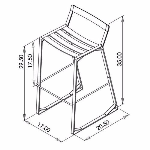 Crane Stool (Cream Steel & Cream Upholstery)