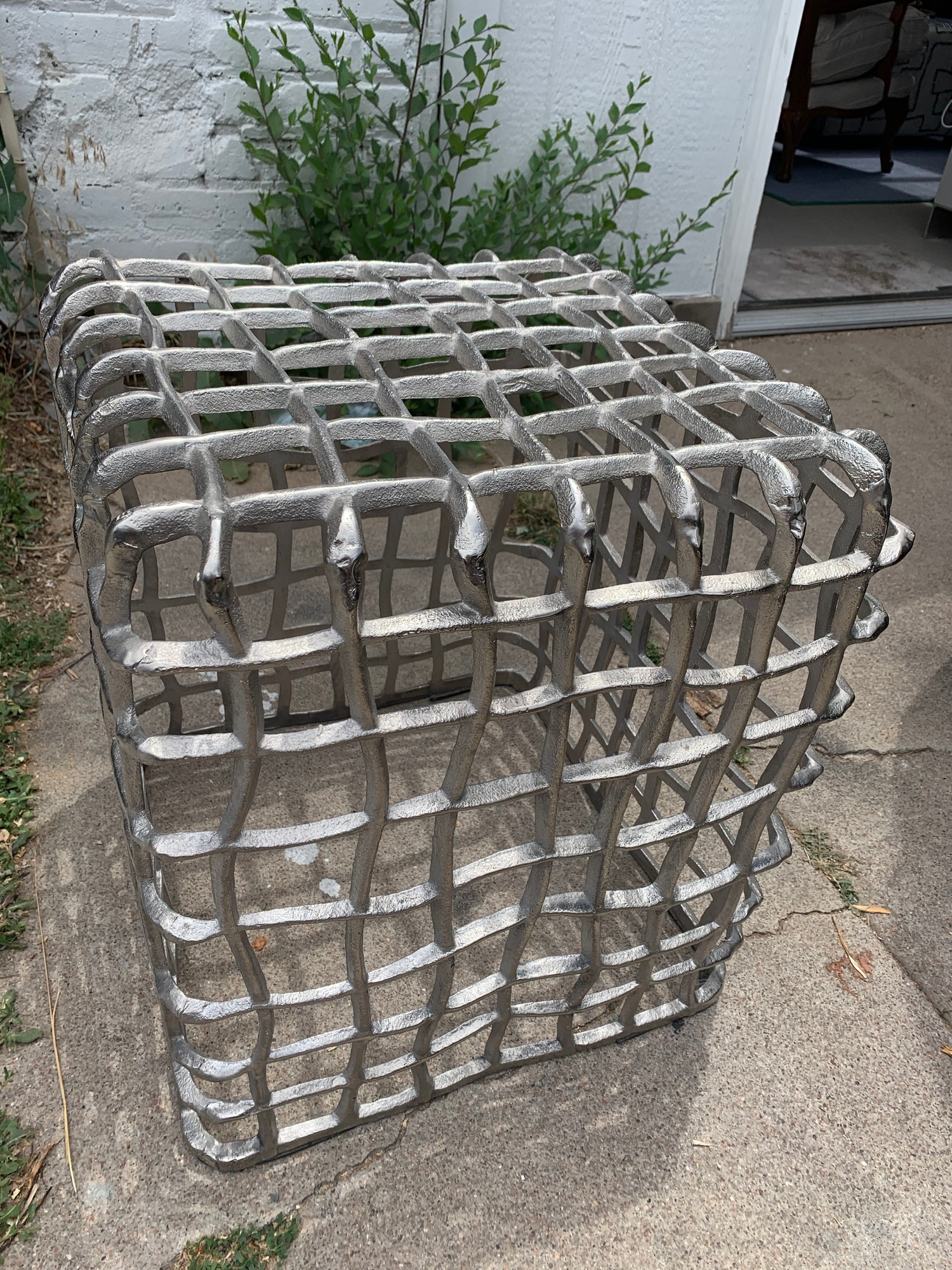 wavy metal cage side table