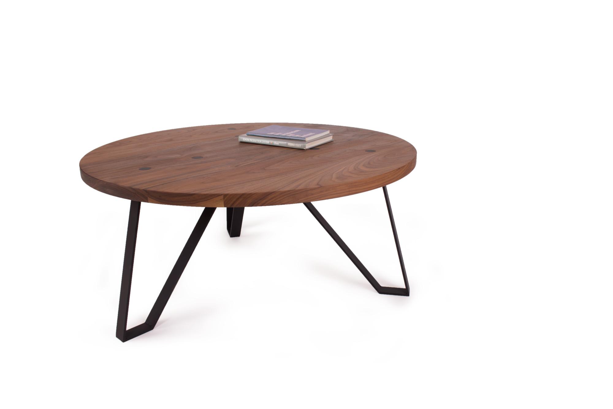 Round Nova Coffee Table (Walnut & Raw Steel)