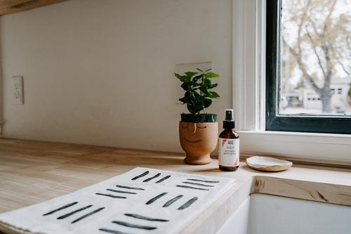 Hand Block Printed Tea Towel   Matchsticks in Black + White