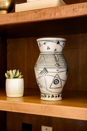 White & Blue Vintage Pottery Vase