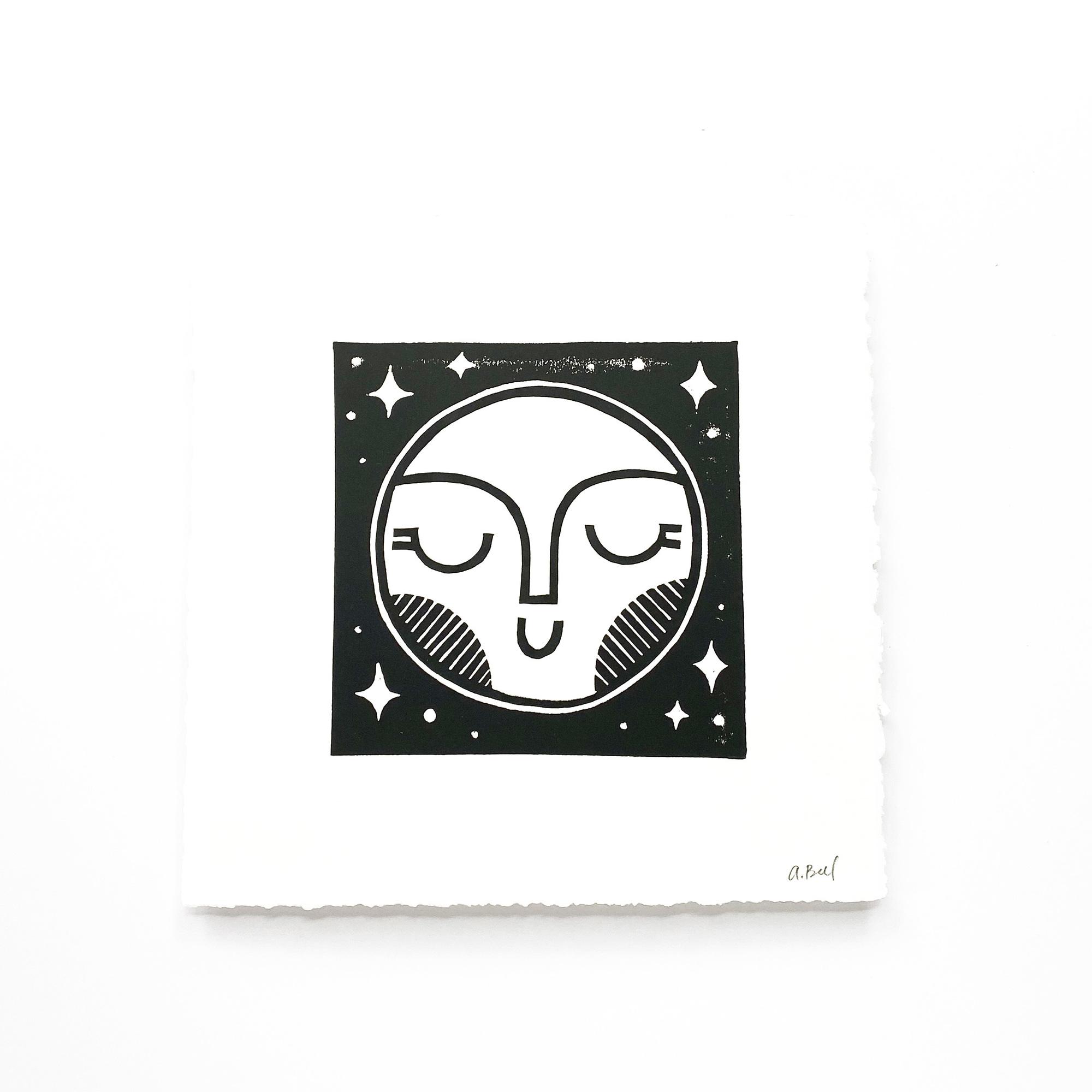 Hand Block Printed Art Print   Moon
