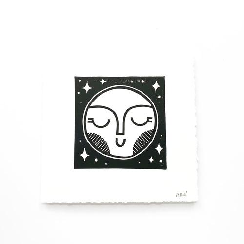 Hand Block Printed Art Print | Moon