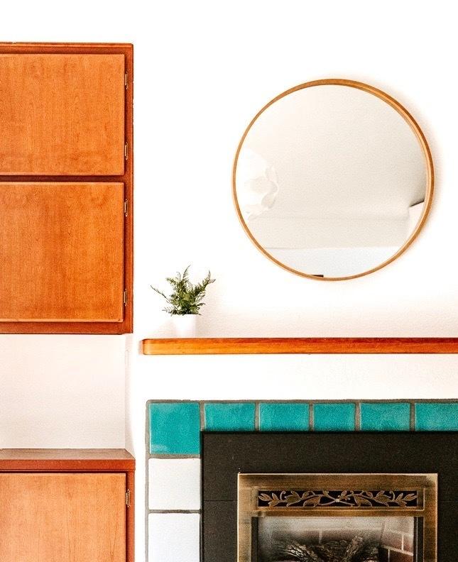 """30"""" Wood Circle Wall Mirror"""