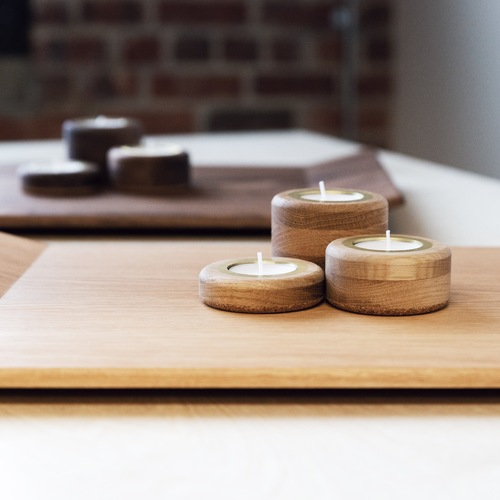 Candle Holder Set - White Oak