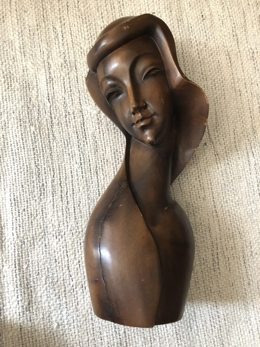 Mid-Century Wood Carved Bust