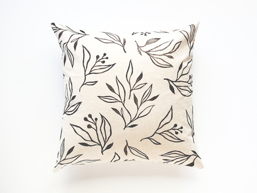 Handmade Block Printed Pillow -  Branches on Natural Linen in Black