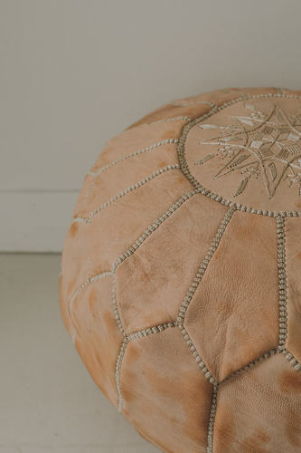 Round Moroccan Leather Pouf - Embroidered Natural