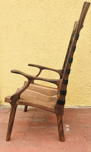 Sculpted Walnut Lounge Chair