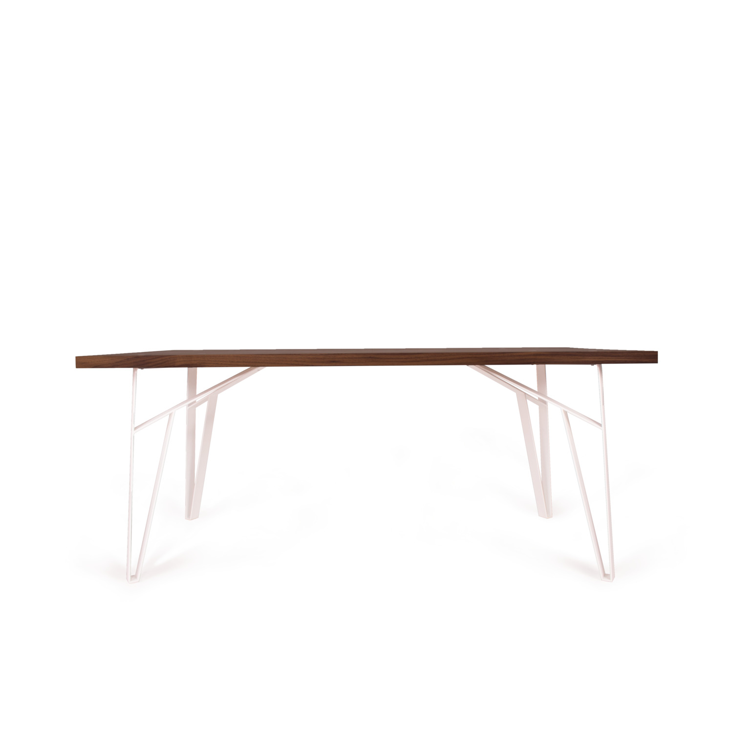 """Truss Dining Table 58"""" (Ash & White Steel)"""
