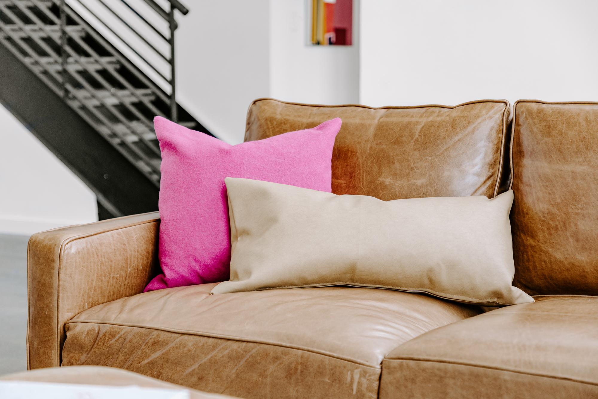 Caramel Faux Leather Lumbar Pillow