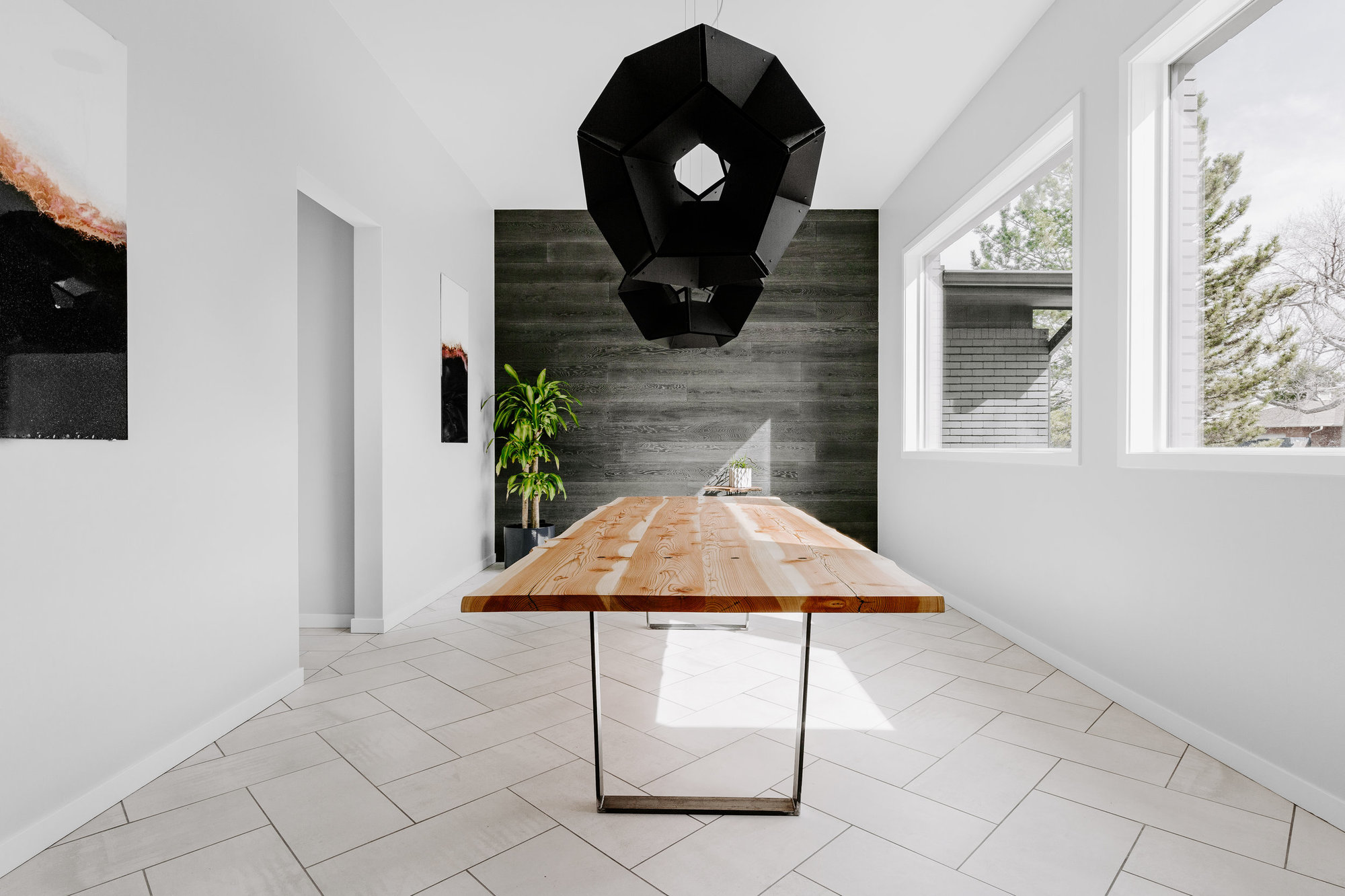 """Enright Dining Table 82"""" (Maple & Black Steel)"""