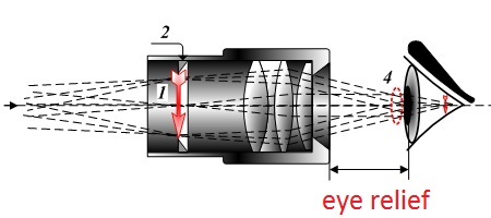 A diagram showing eye relief
