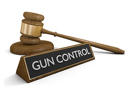 Gun control sign with law hammer