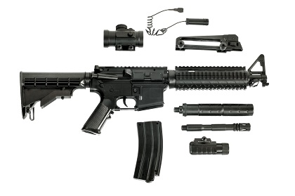 Disassembled rifle