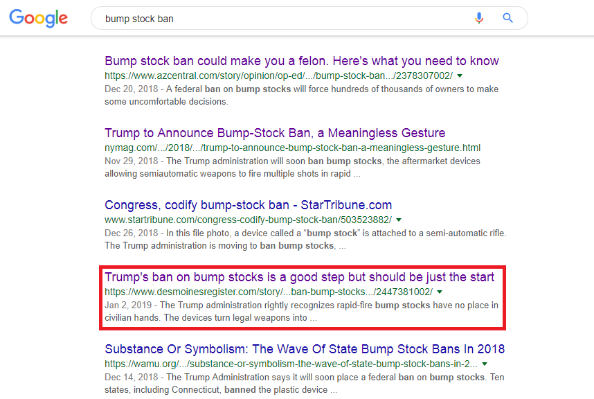 Bump stock ban google search results page 3