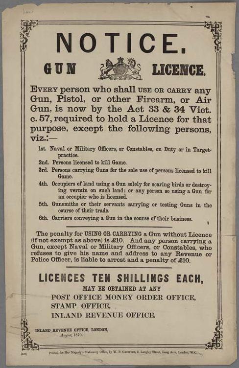 Notice._Gun_License_British_1870