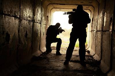 Tunnel with 2 armed men