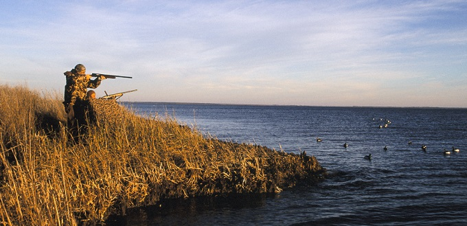 Duck hunting near water