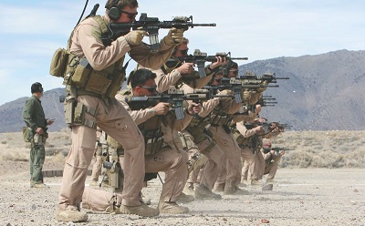 Marines and sailors conduct shooting drills resize