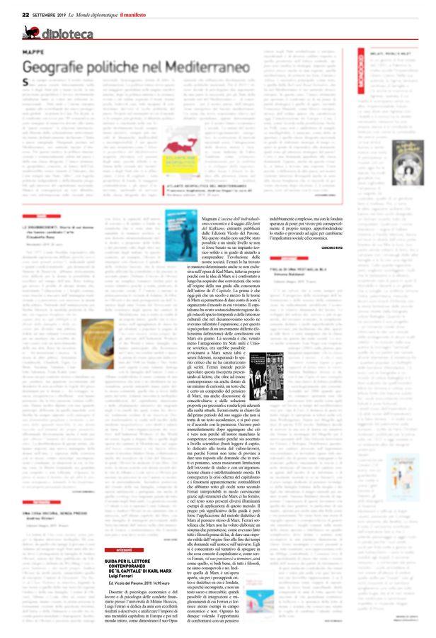 Questo mese su «Le Monde diplomatique - il manifesto» la recensione di Giancarlo Rossi alla Guida per il lettore contemporaneo de Il capitale di Karl Marx