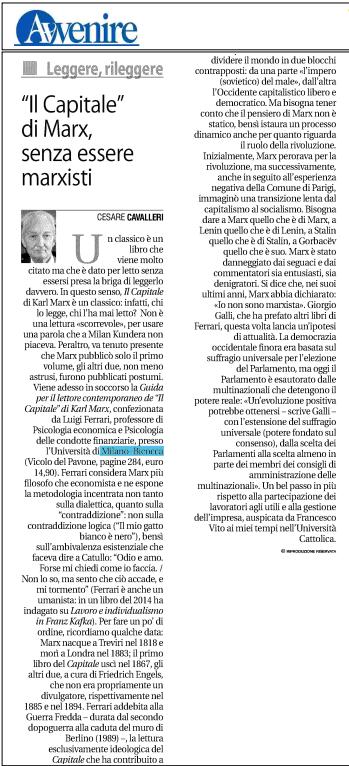 """Eccovi l'articolo di Cesare Cavalleri uscito il 20 Maggio su l'""""Avvenire"""""""