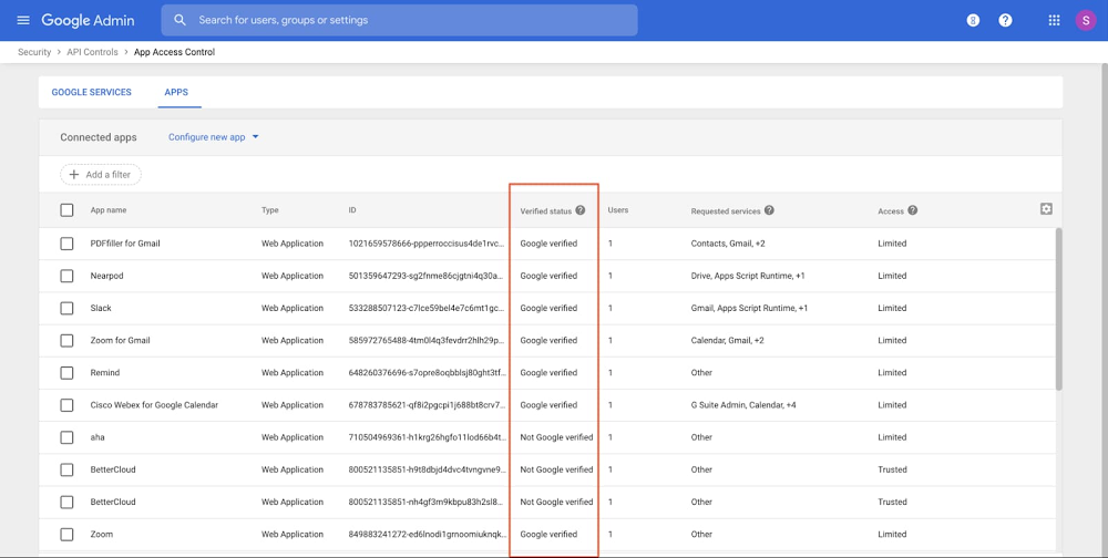 7 - Showing Google verified apps in Admin Console.jpg