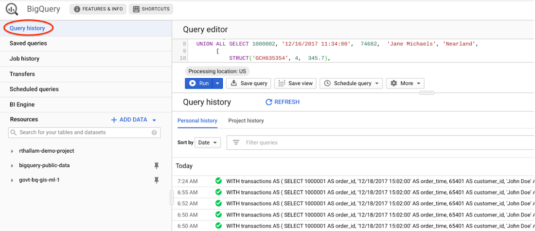 BigQuery query history