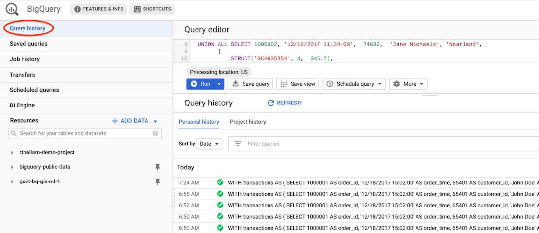 BigQuery query history