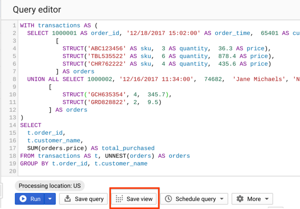 Save query as a view