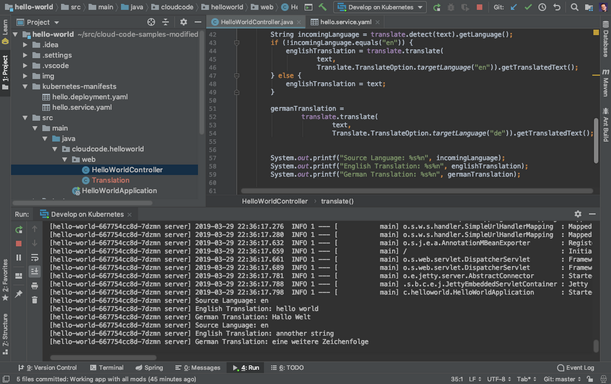 Cloud Code para IntelliJ