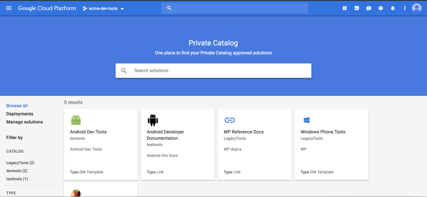 Google Cloud Platform Private Catalog