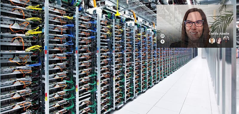 Imagem simulada do Google Meet for Glass