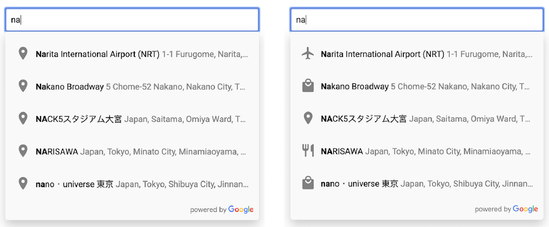 How to show place type icons in Place Autocomplete results