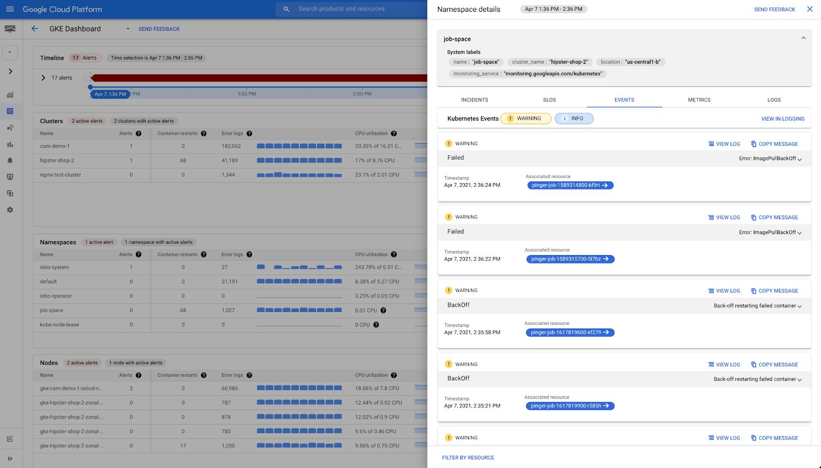 GKE Dash- namespace details