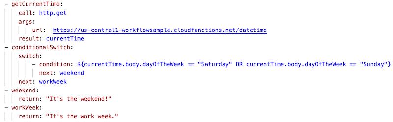 Sample Workflows YAML code