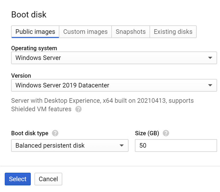 Create Windows VM instance select boot disk