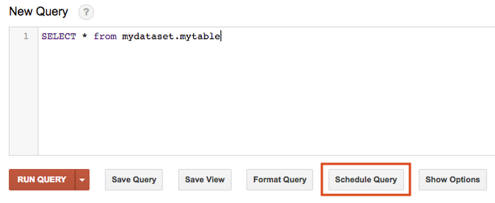 BigQuery scheduled queries interface in the legacy UI