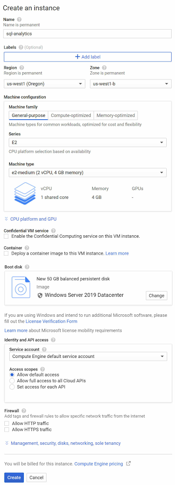 Create Windows VM instance